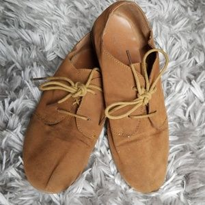 ♻️ Faux Suede Lace up Oxford Loafers Sz 8